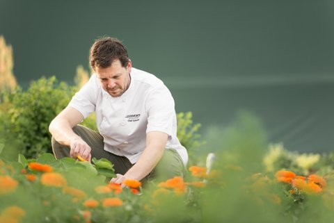 Chef Elskins in the Unsworth Vineyards gardens.