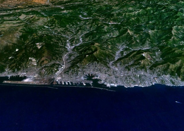 NASA satellite image of Genoa, Liguria region, northwestern Italy