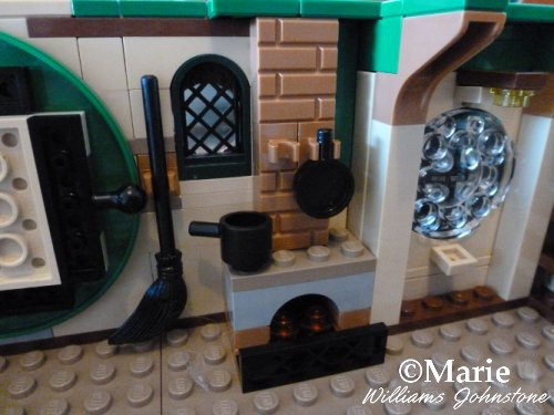 Building the little Lego brick fireplace in the Hobbit home