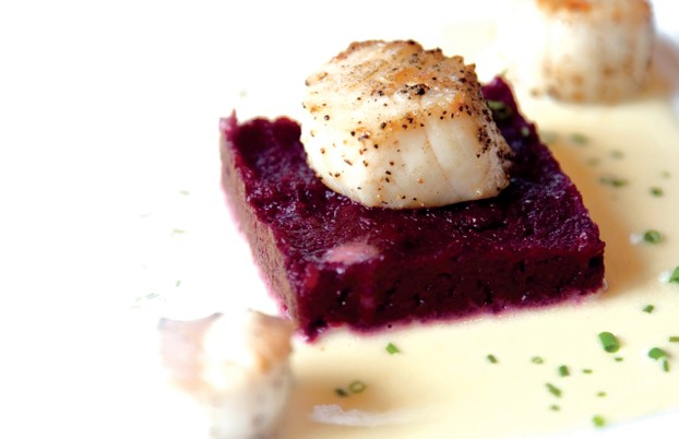 Seared Scallops with Beet Puree and Orange Butter