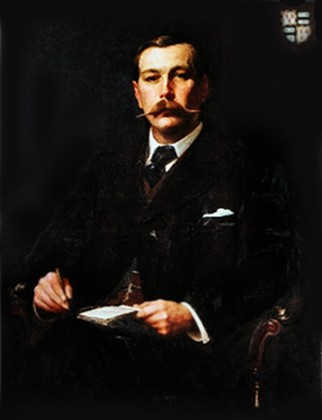 ca. 1890 portrait of Sir Arthur Conan Doyle by Sidney Edward Paget (October 4, 1860 – January 28, 1908)
