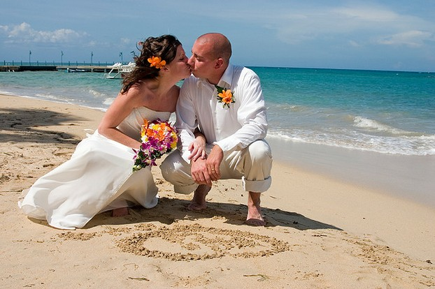 Wedding Couple with a Sand Heart