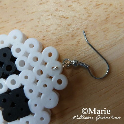 Attaching an earring hook to a perler hama bead project