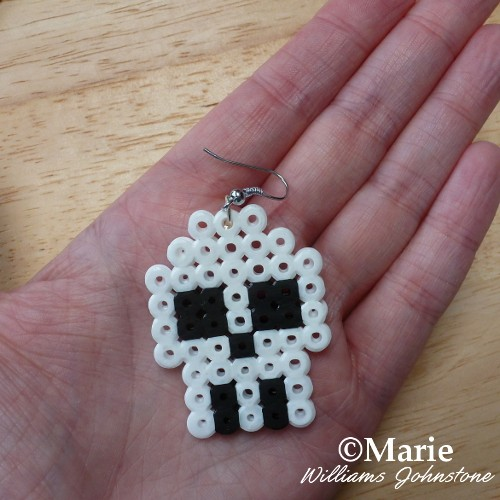 A finished perler hama bead earring - see the full photo tutorial