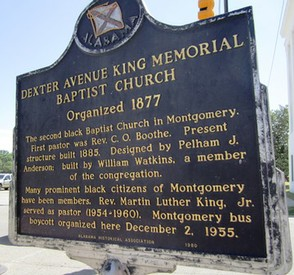 Plaque outside Dexter Avenue King Memorial Church
