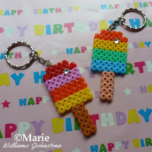 Perler Hama Popsicle Key Chain Tutorial