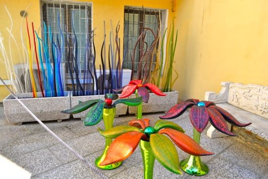 Outside Simone Cenedese's studio and gallery on Murano.