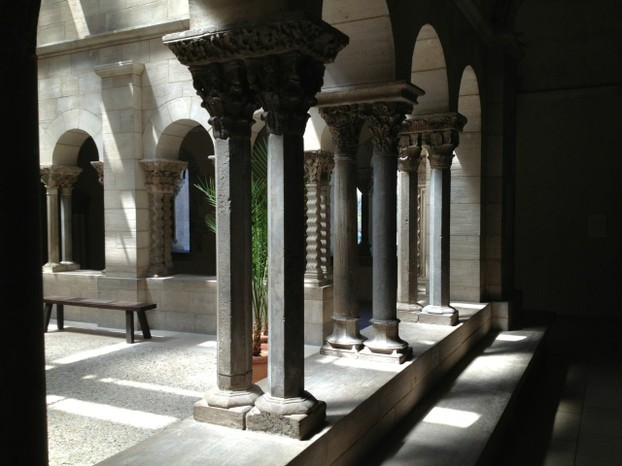 Light and shadow play out in this courtyard in the Cloisters.