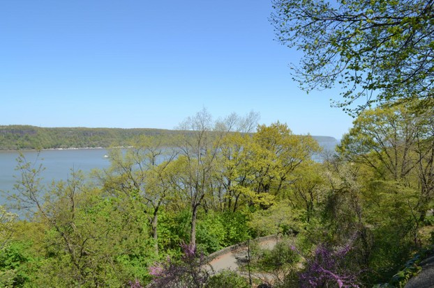 Dramatic views across the Hudson River to the New Jersey Palisades.