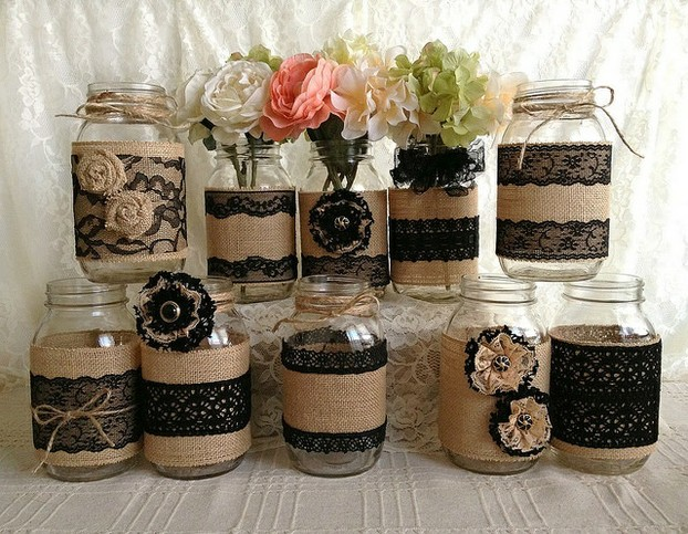 Black lace brings Rustic Chic to a new level