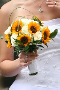 Sunflowers and white roses