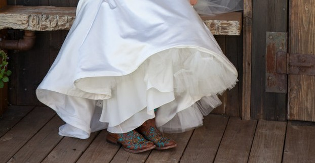 You'll often see cowboy boots at rustic weddings