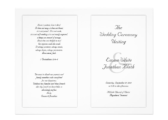 White Wedding Programs with Scripture