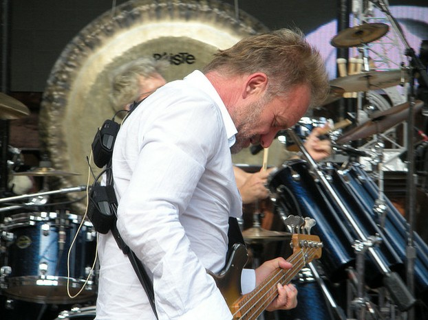 Sting during a Police soundcheck, Denver, July 2008.