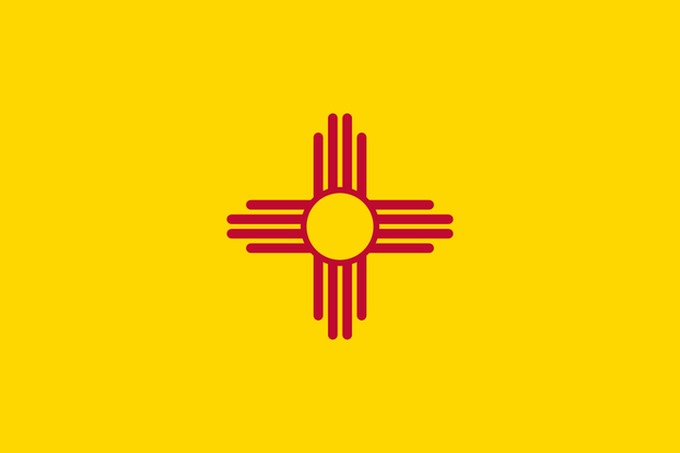 sacred Zia symbol of sun and four directions on Flag of New Mexico