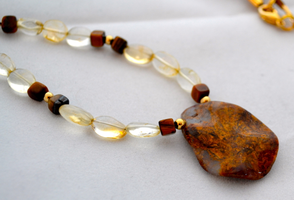 Pietersite necklace with citrine and gold beads