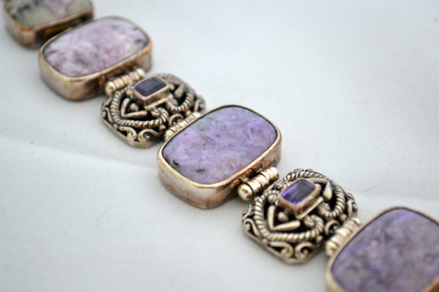 Charoite, amethyst and silver bracelet in my collection