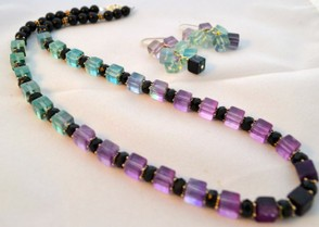 Geometric-style necklace and earrings with square-cut fluorite beads