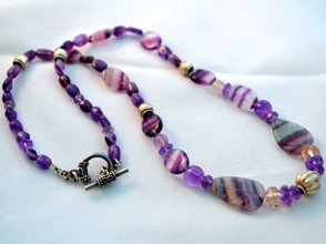 "Fluorite ""leaves"" mixed with amethyst and sterling silver"