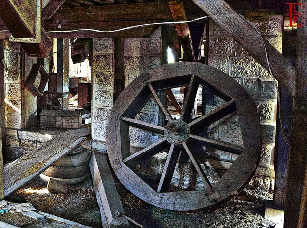 mill wheel in Cedar Point, Chase County, east central Kansas