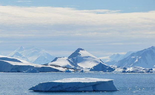 View toward the NNE from Rothera Research Station (on Adelaide Island) over Laubeuf Fjord