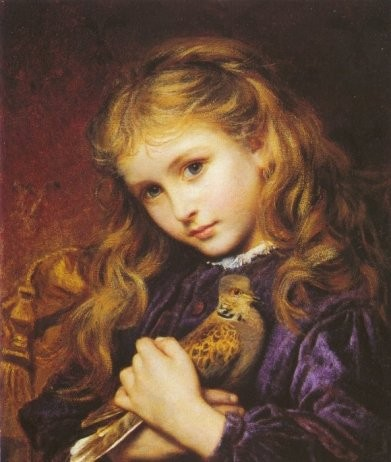 The Turtle Dove: oil on canvas by Sophie Gengembre Anderson (1823 - March 10, 1903)