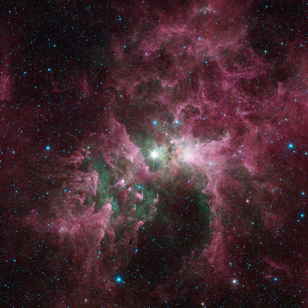 The tortured clouds of Eta Carinae: view from NASA's Spitzer Space Telescope
