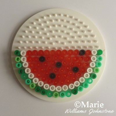Finishing the slice of watermelon bead pattern