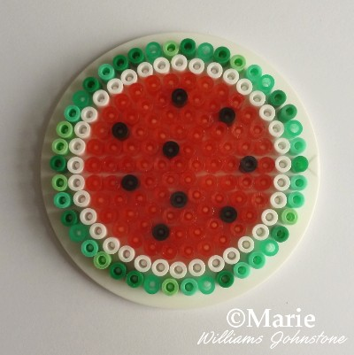 Full coaster watermelon fused Hama Perler design