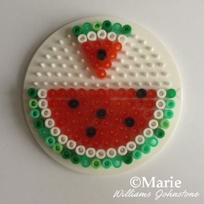 Water melon slices worked in fused perler hama beads kids craft