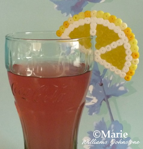 Summer slice of fruit with your cool drink - fun drink decor made with perler hama beads