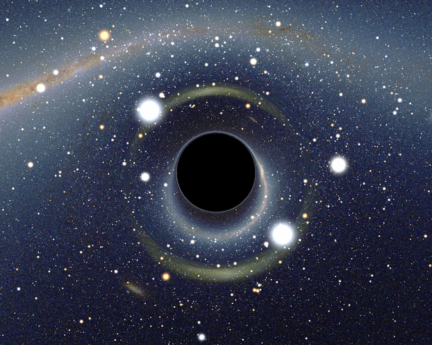 simulation of black hole in front of Large Magellanic Cloud