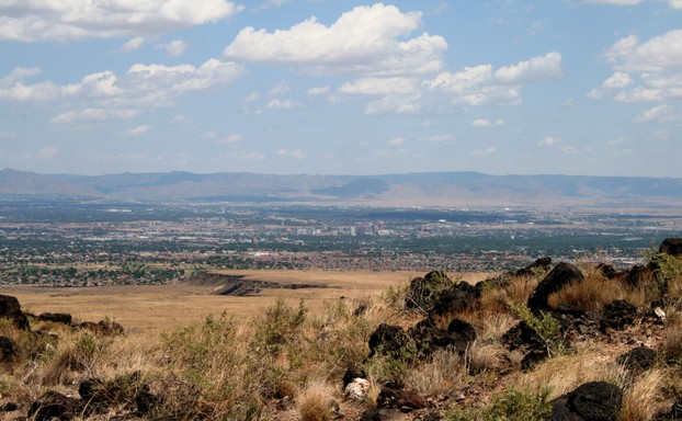 A view of Albuquerque and the Manzano Mountains from the West Mesa
