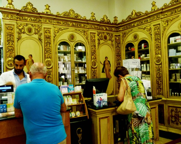 Interior of  Pharmacy in Cefalaù's main street