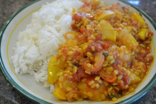 Courgettes with split lentils & tomatoes, served with Basmati rice.
