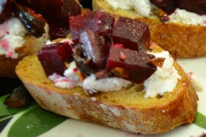 Beet, Goat Cheese, and Pistachio Crostini.