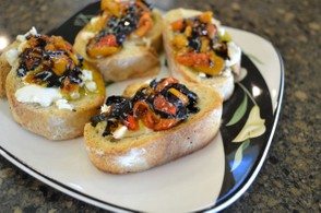 Gorgonzola, roasted pepper and balsamic glaze crostini.