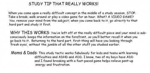 My ADD Teens: a Helpful Study Tip