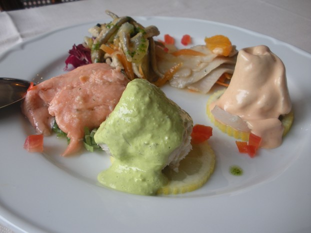 Lake trout prepared four ways, as served on Lake Maggiore in Northern Italy