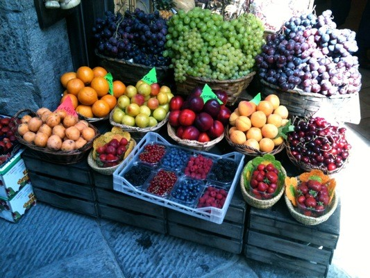 A fruit market in Siena, Italy