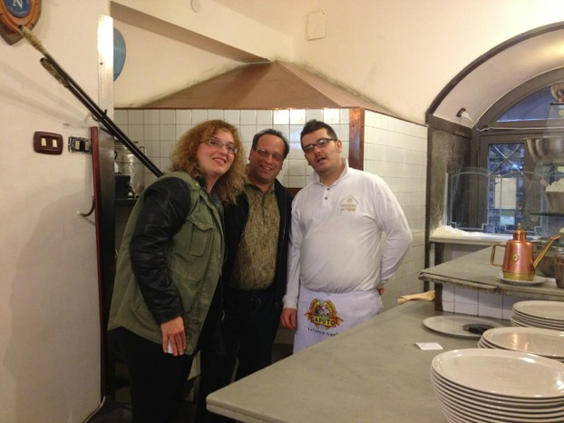 The author, sweetie, and one of the wonderful pizza-makers of Naples.