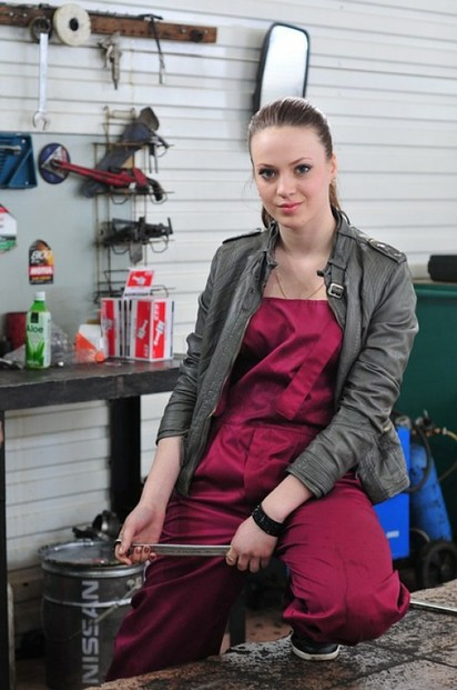 Lady Mechanic with Tool