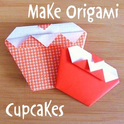 How to make easy origami cupcakes for adults and kids to follow along with