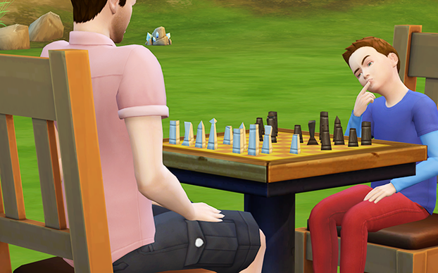 Little Perry plays his first of three games of chess with his father.