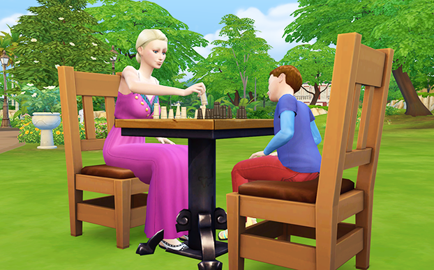 Perry plays a game of chess with his mother.