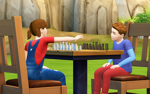 Perry plays chess with his sister, Lorelei. She's an Artistic Prodigy.