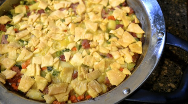 "Take the pan stove-top to oven to make a quick and easy turkey ""pot pie"" using leftover cooked turkey and fresh veggies"
