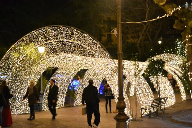 Walking through a tunnel of lights in Salerno, Italy during the Christmas season.