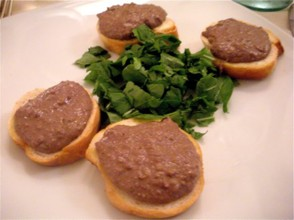 Tuscan crostini featuring chicken liver pate.