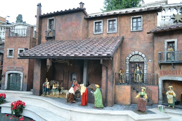 An elaborate creche on top of the Spanish Steps, set up to resemble a small village.